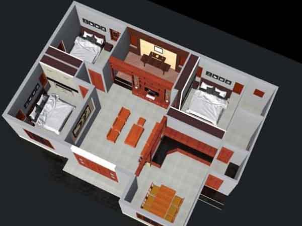 Mẫu thiết kế nhà 1 tầng 3 phòng ngủ