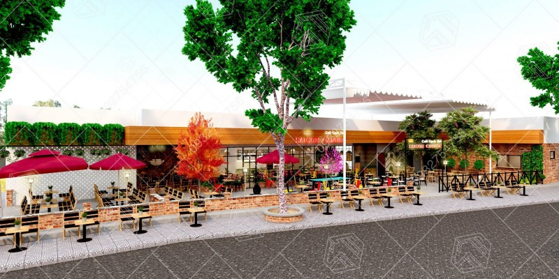Hình ảnh thiết kế quán cafe tại Cần Giuộc