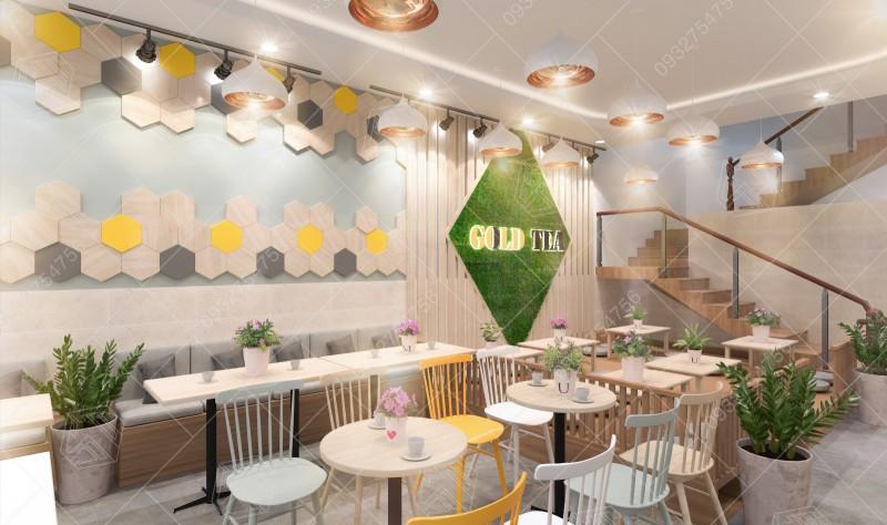 Hình ảnh thiết kế thi công quán trà sữa Gold Tea tại Lộc Ninh, Bình Phước.