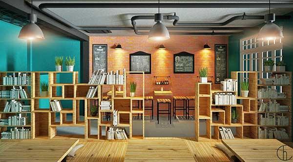 Mô hình quán cafe sách