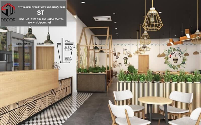 mô hình thiết kế quán trà sữa