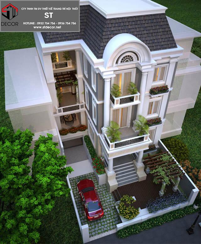 thiết kế nhà 5x15m có Gara