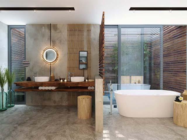 thiết kế phòng tắm với nhiều không gian trống