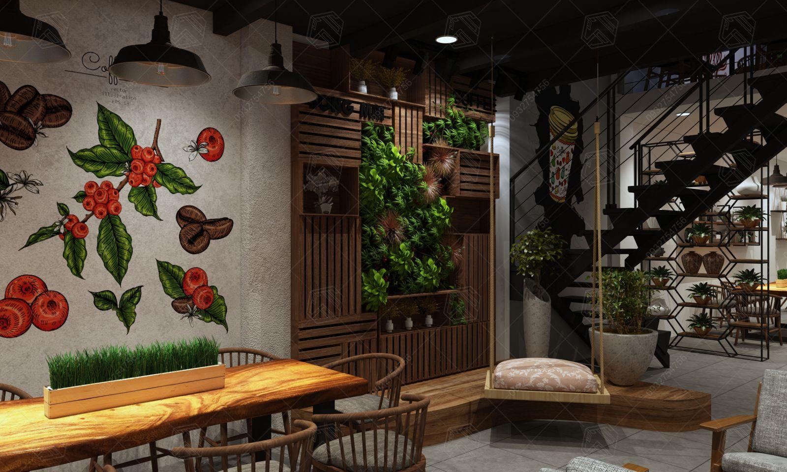 thiết kế quán cà phê Song Mai Long Xuyên