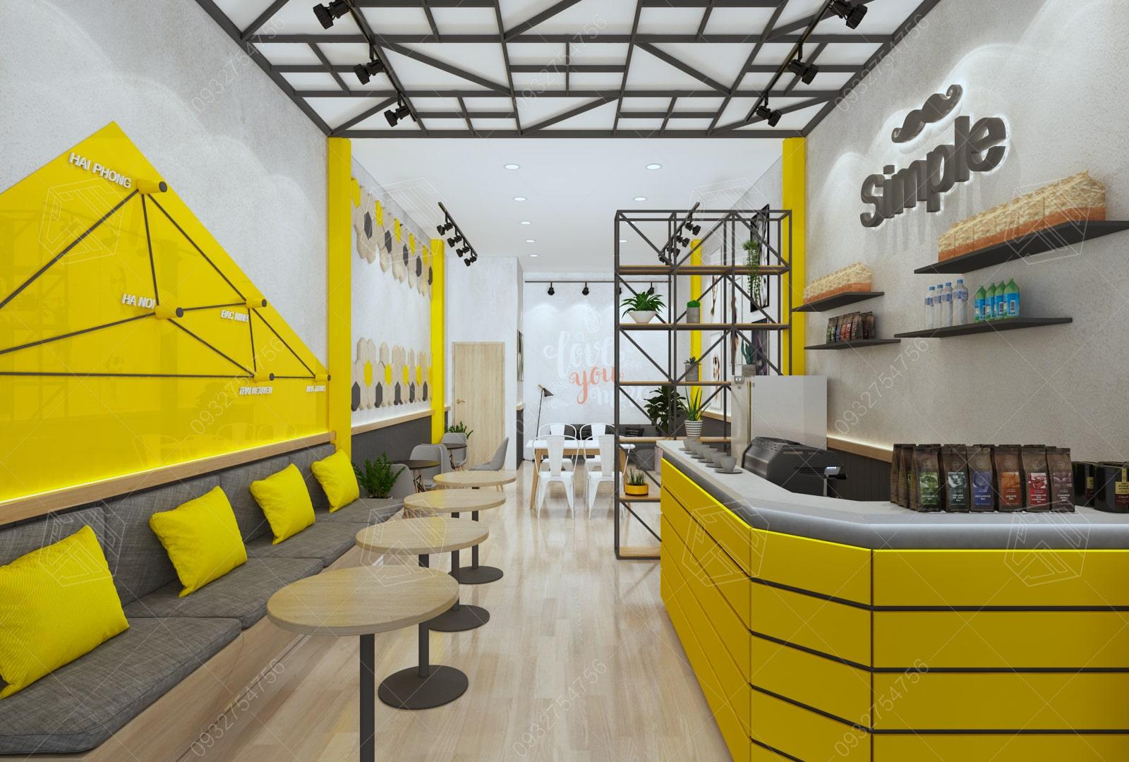thiết kế quán trà sữa simple