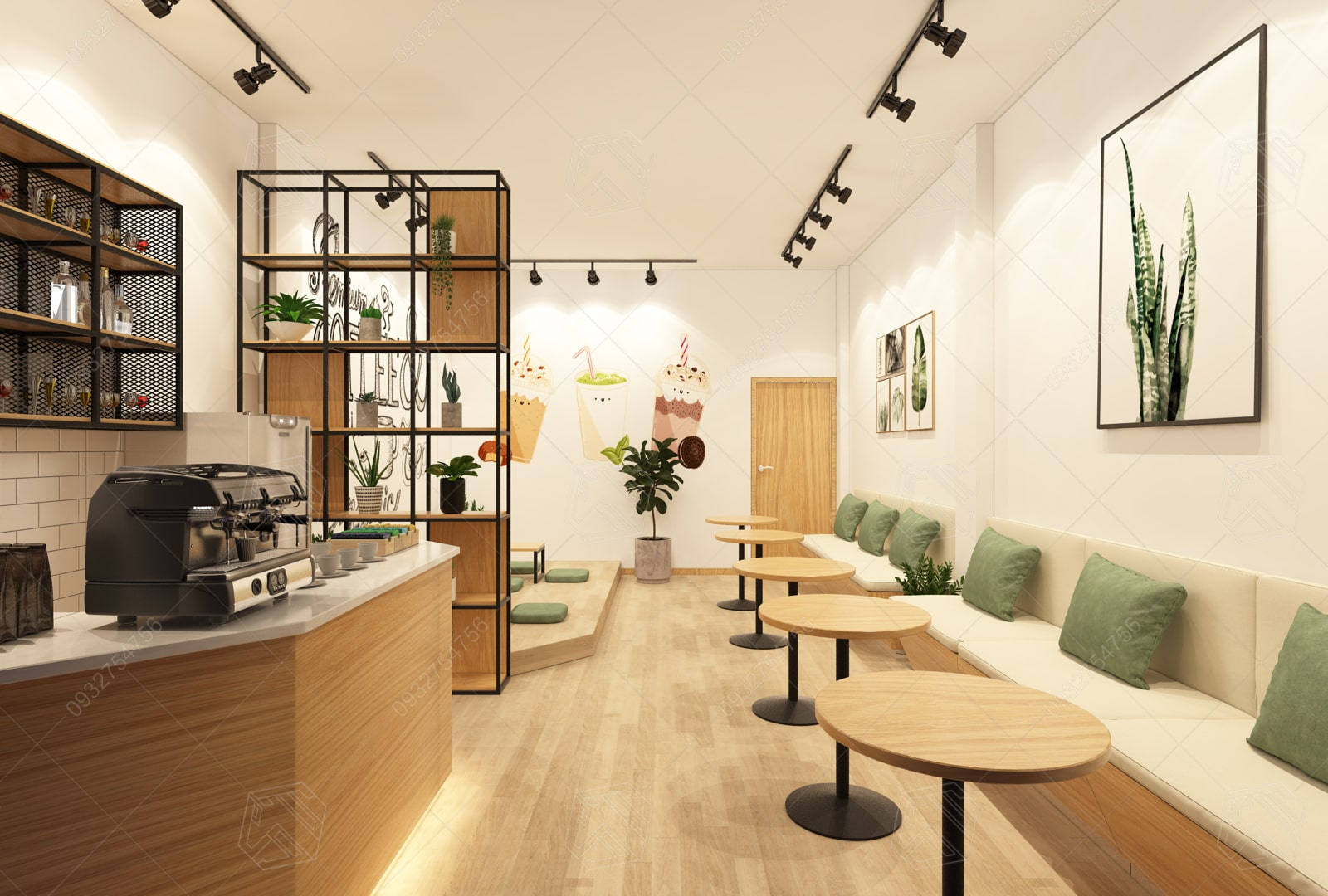 thiết kế quán trà sửa nhung