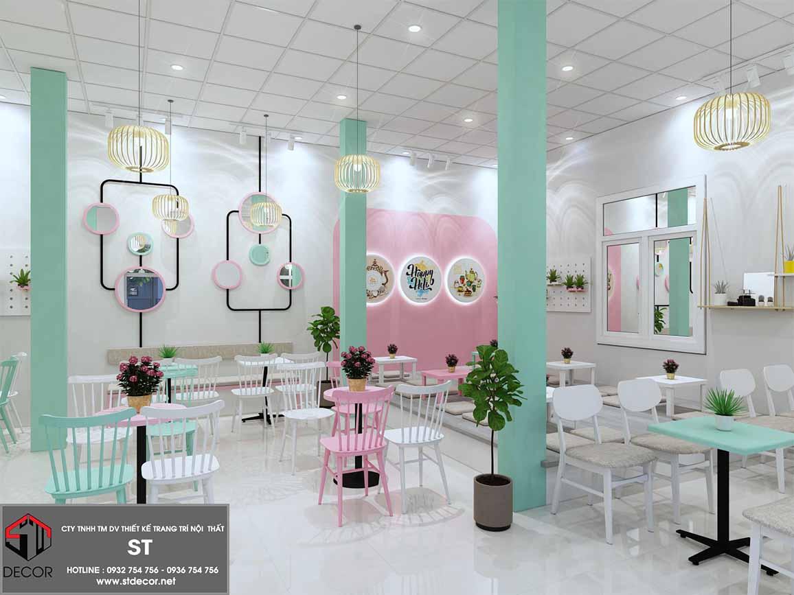 thiết kế quán trà sữa mini đẹp