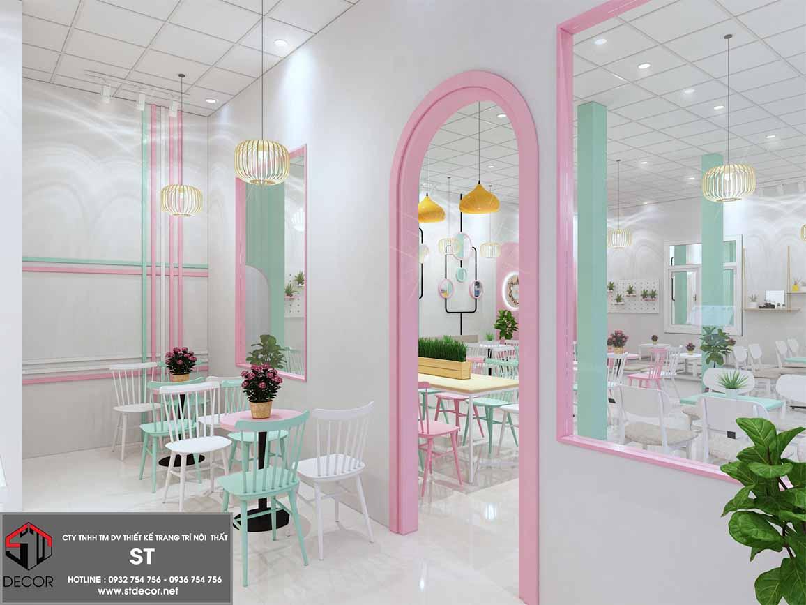 thiết kế quán trà sữa mini