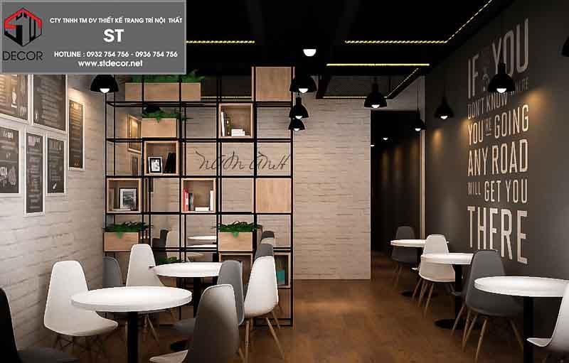 thiết kế quán trà sữa 40m2