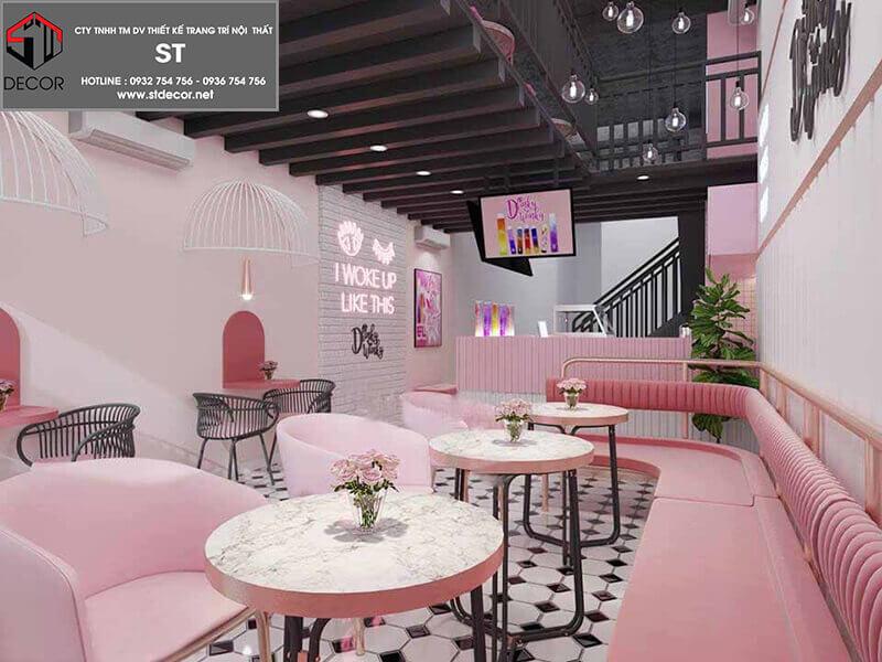 thiết kế quán trà sữa hồng