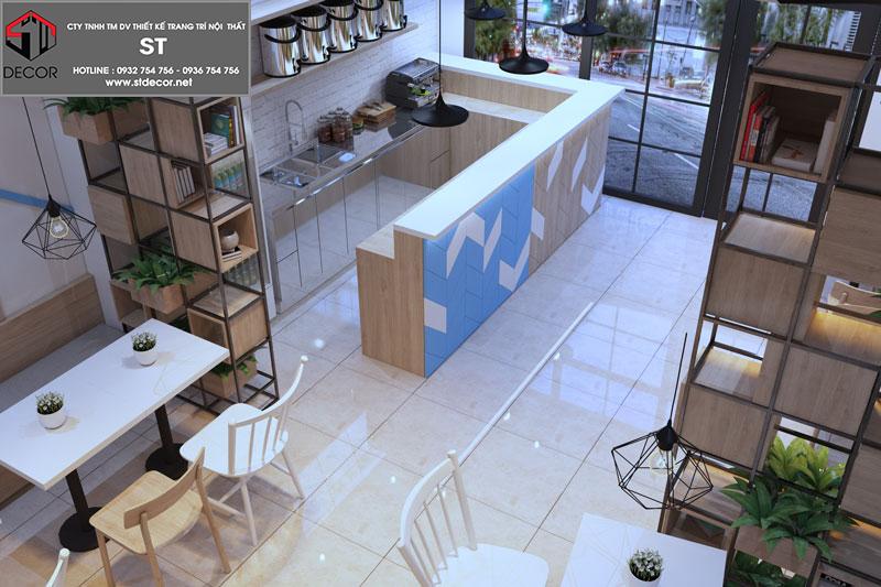 thiết kế quán trà sữa tiết kiệm