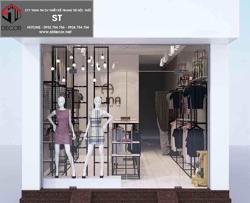 mặt tiền thiết kế shop quần áo 15m2
