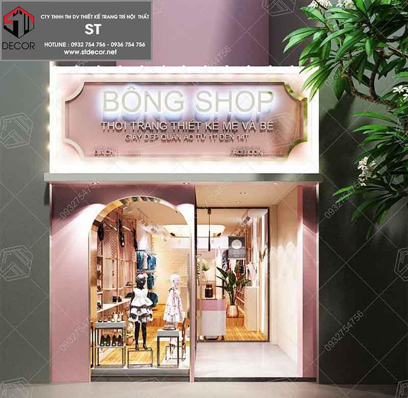 thiết kế shop quần áo 15m2