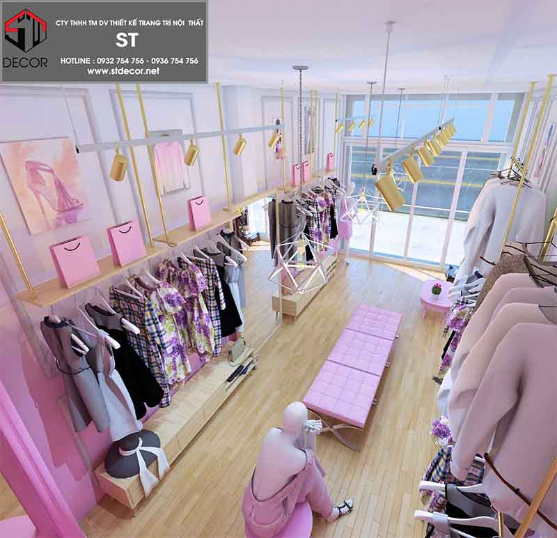 thiết kế shop quần áo 15m2 trẻ trung