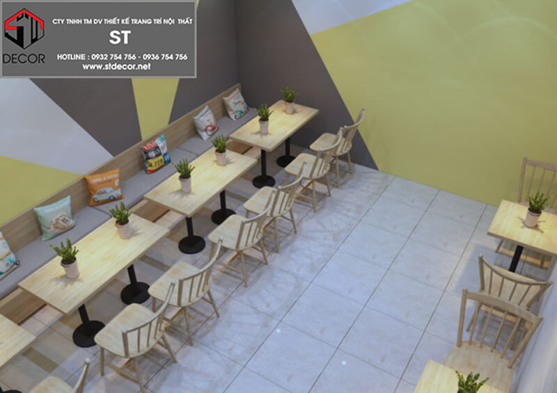 thiết kế quán trà sữa ăn vặt