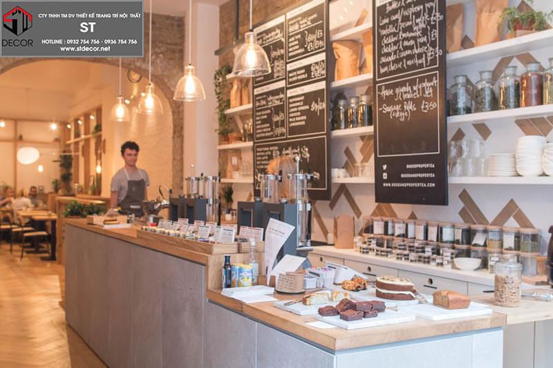 thiết kế quầy bar quán trà sữa