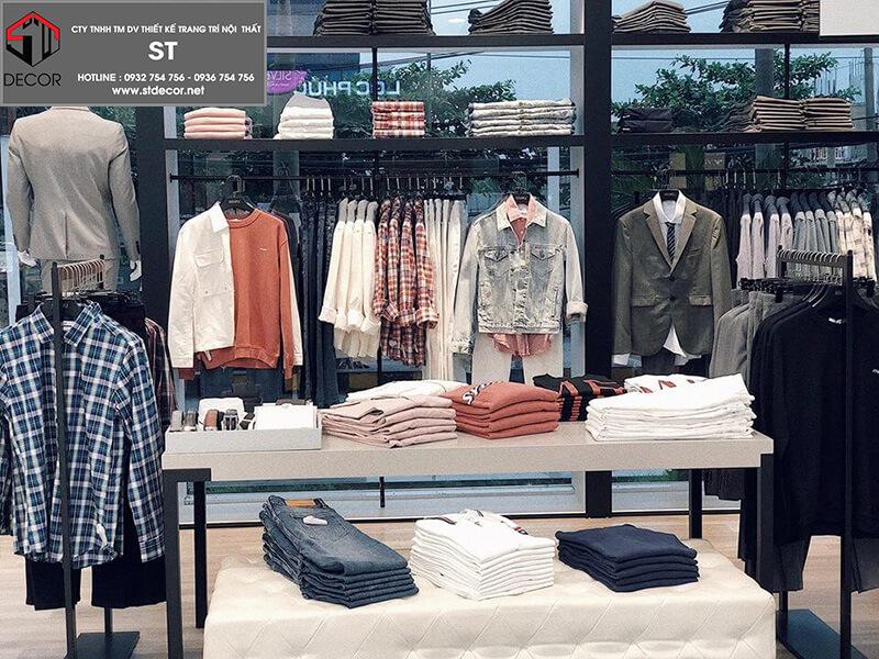 thiết kế shop quần áo unisex