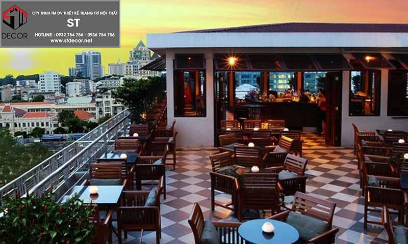 thiết kế quán cafe trên sân thượng