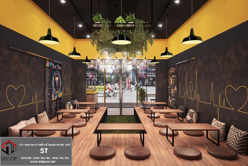 thiết kế quán cafe mặt tiền 6m