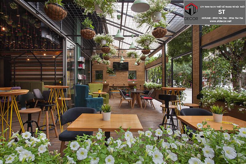 thiết kế quán trà sữa 2 tầng