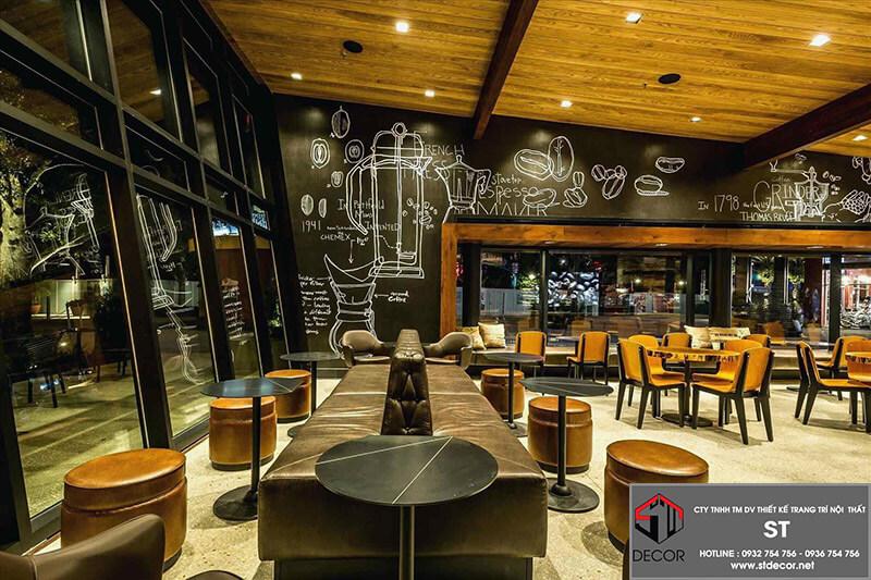 thiết kế quán cafe diện tích 100m2