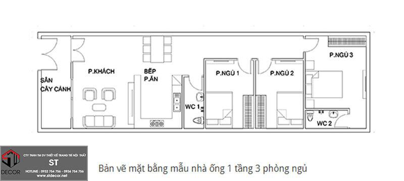 Mẫu thiết kế nhà cấp 4 diện tích 5x25m