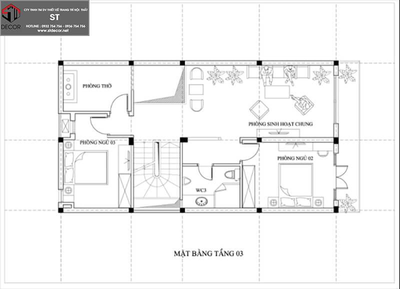 mẫu thiết kế nhà 3 tầng 7x15m