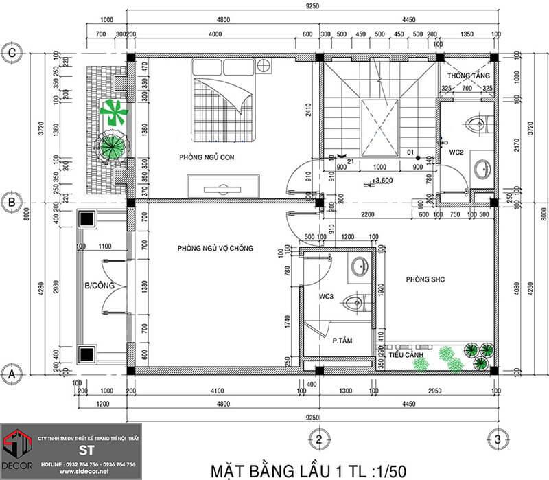 Mẫu nhà đẹp 3 tầng 8x12m