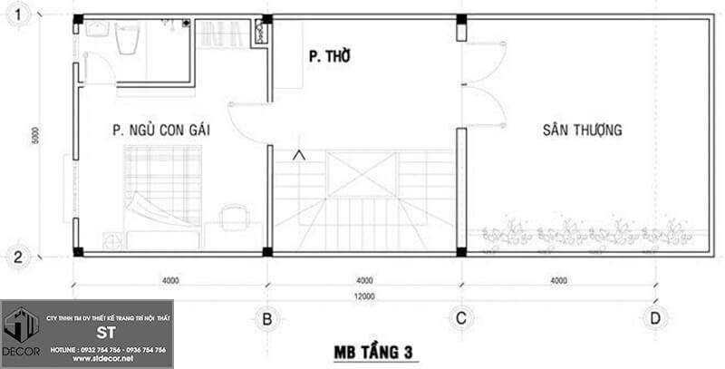 Bản vẽ nhà 3 tầng 5x20m