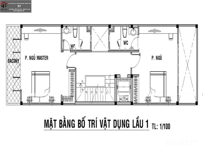 thiết kế nhà 100m2 5x20 3 tầng