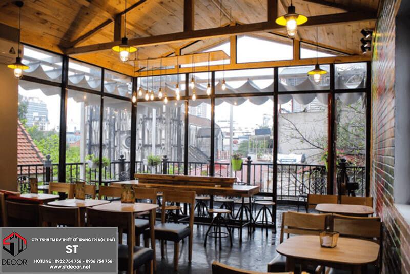 Thiết kế quán cafe nhà kính