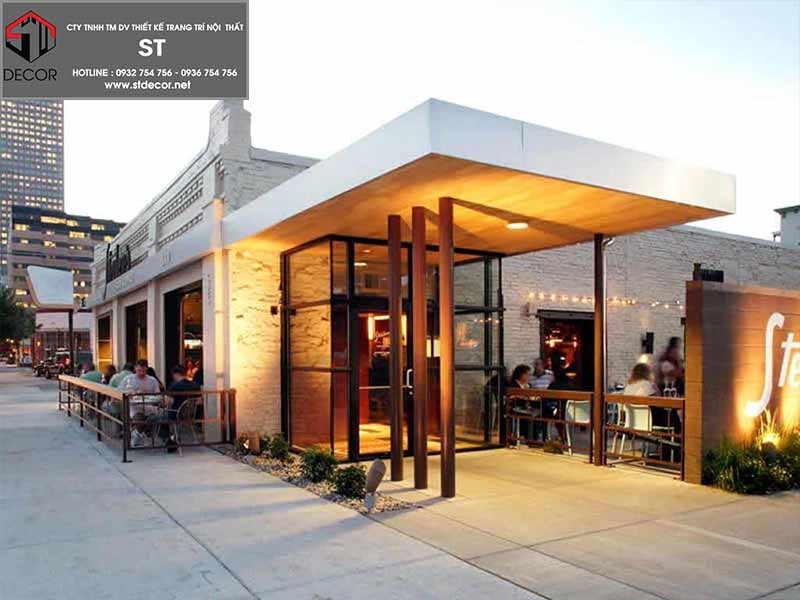 thiết kế quán cà phê không gian mở 2020