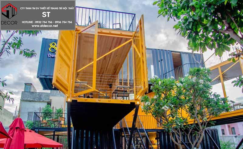 thiết kế quán cà phê không gian mở rộng rãi
