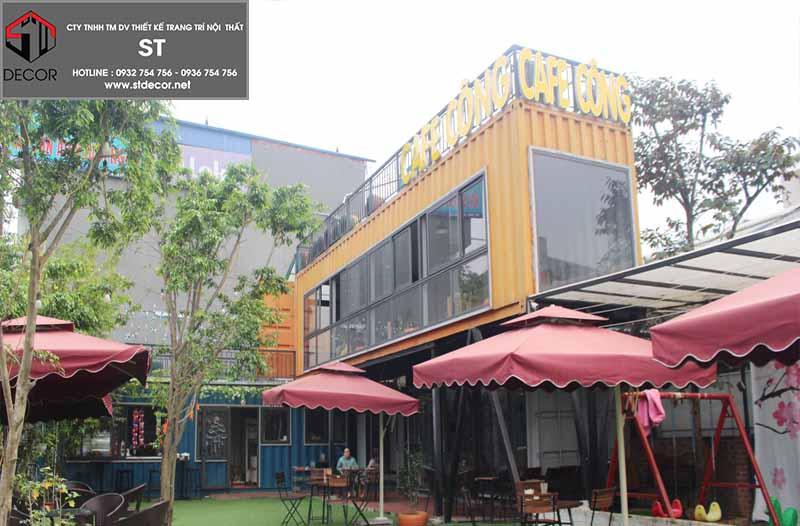 thiết kế quán cà phê không gian mở bằng container
