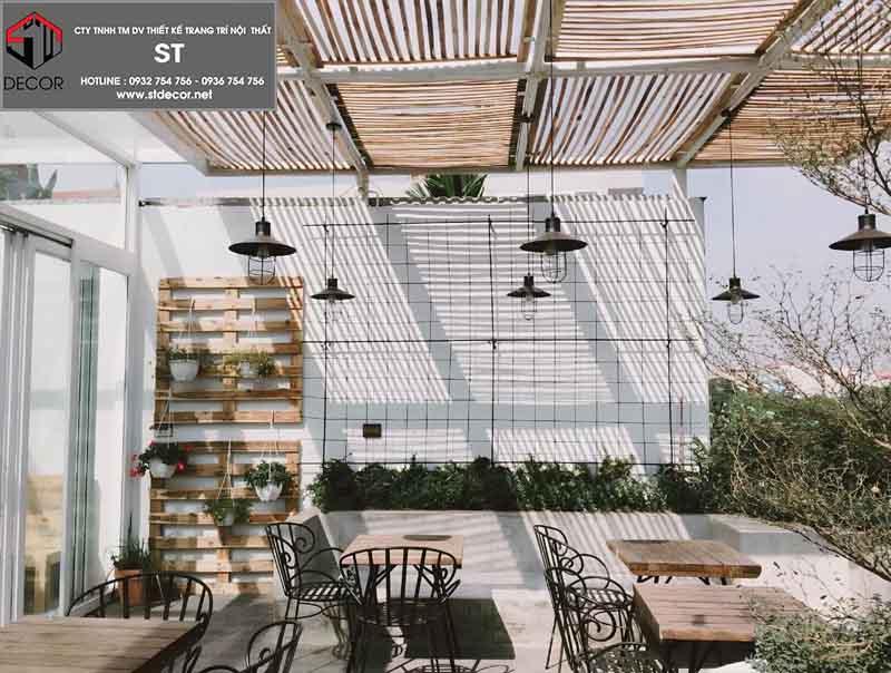 thiết kế quán cà phê không gian mở