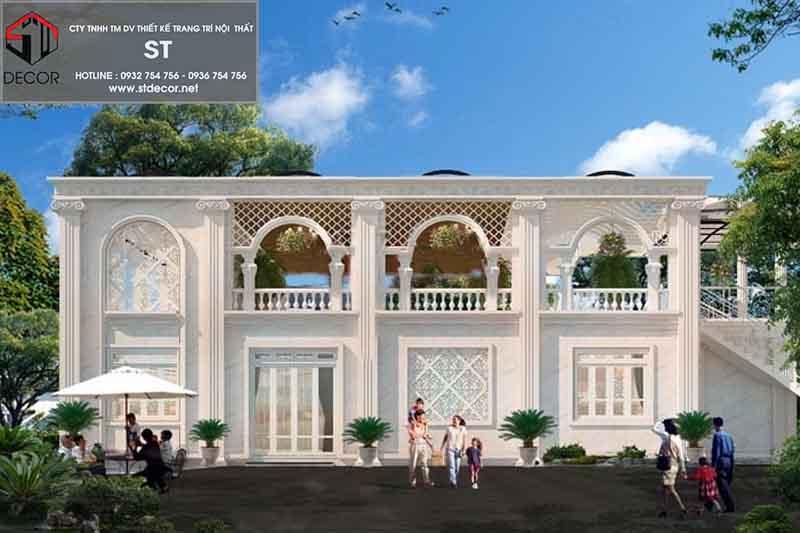 thiết kế quán cà phê kết hợp nhà ở 2 tàng