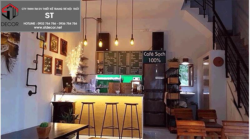 thiết kế quán cà phê kết hợp nhà ở