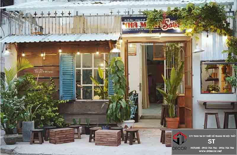 thiết kế quán cafe phong cách hoài cổ