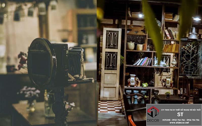 thiết kế quán cà phê phong cách hoài cổ