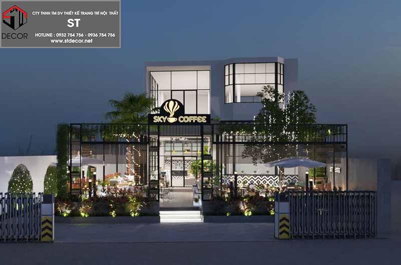 thiết kế quán cafe tiền chế