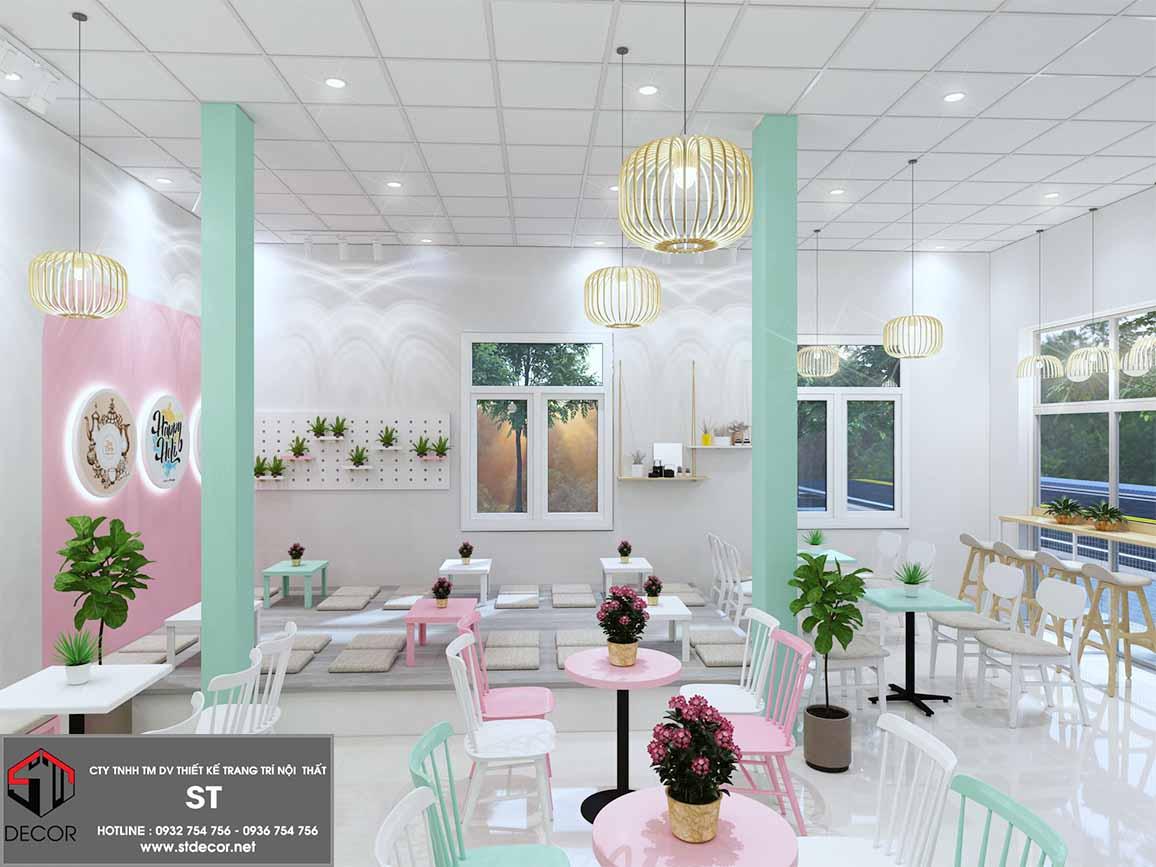 thiết kế quán trà sữa diện tích nhỏ