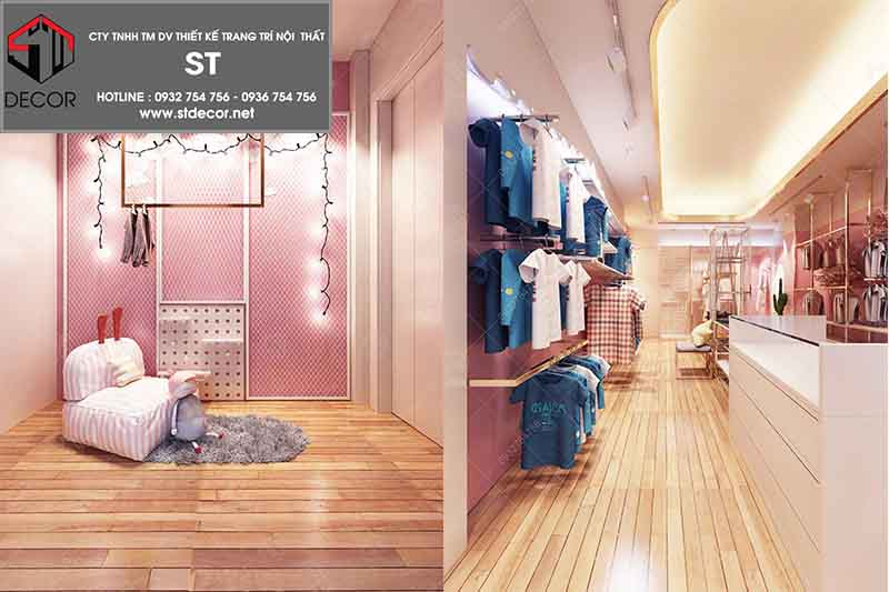 thiết kế shop quần áo 15m2 trẻ em