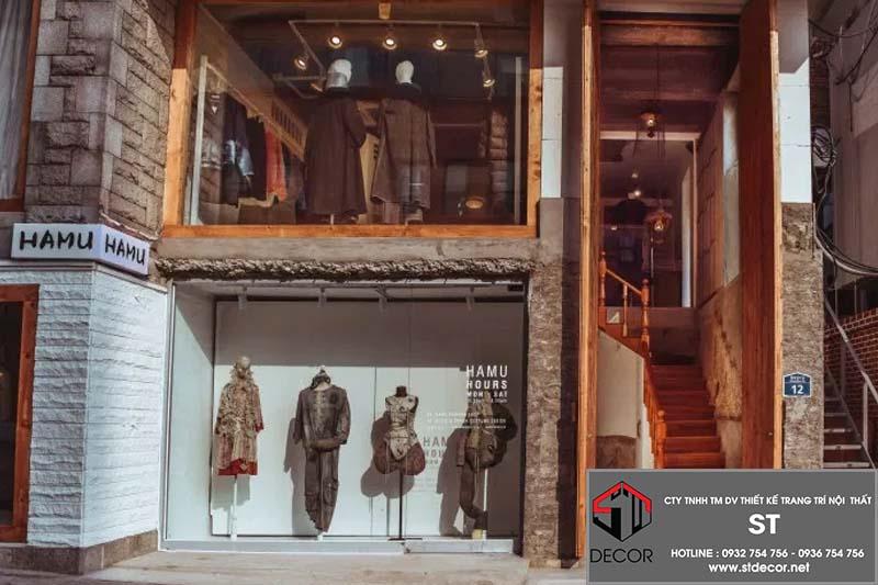 thiết kế shop thời trang Hàn Quốc 2 tầng đẹp