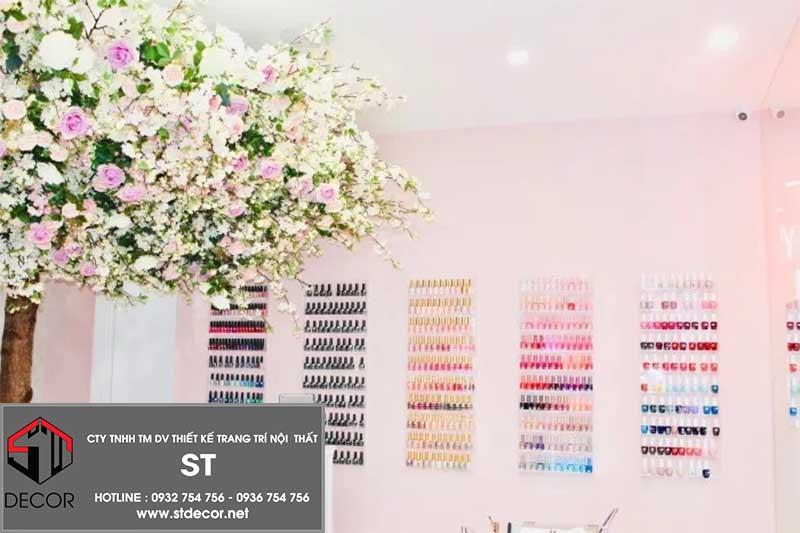 thiết kế tiệm nail nhỏ xinh hiện đại