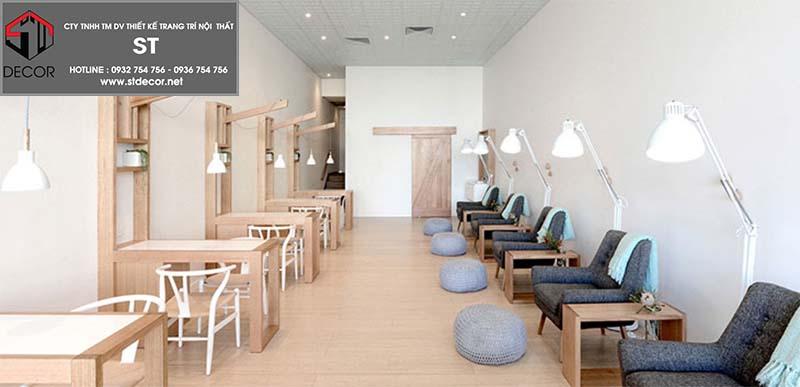 thiết kế tiệm nail nhỏ xinh phong cách zen
