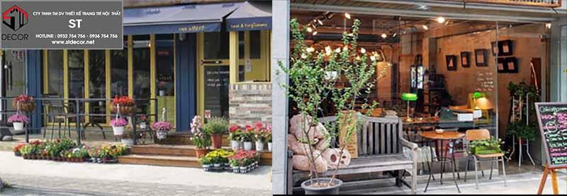trang trí mặt tiền quán cafe 6m