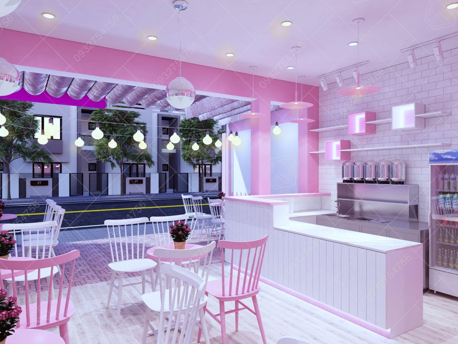 Thiết kế quán trà sữa tại Phước Long Bình Phước